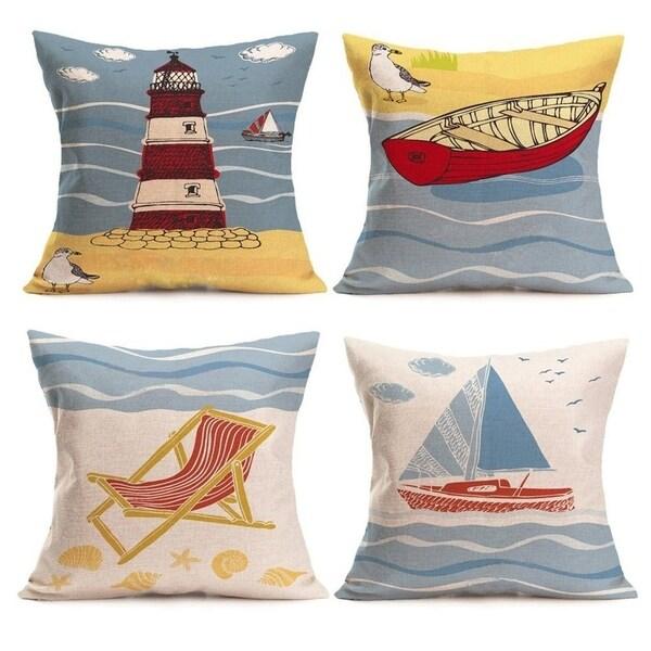 """Linen Coastal Throw Pillowcases Sea Theme Cushion Cover 18""""x18"""" 4 Pack"""