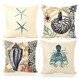 Ocean Theme Square Cotton Linen Throw Pillow Cushion Cover