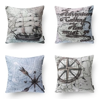 Decorative Set of 4 Ocean Series Throw Pillow Cover