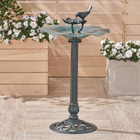Sandberg Outdoor Aluminum and Iron Bird Bath by Christopher Knight Home