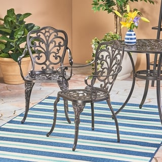 Link to Viga Outdoor Cast Aluminum Dining Chair (Set of 2) by Christopher Knight Home Similar Items in Patio Dining Chairs