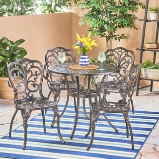Vigo Outdoor 5 Piece Cast Aluminum Dining Set by Christopher Knight Home