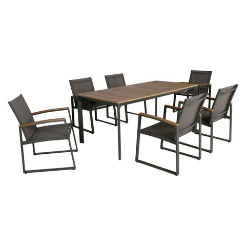 Westcott Outdoor 7 Piece Aluminum and Mesh Dining Set with Wood Top by Christopher Knight Home
