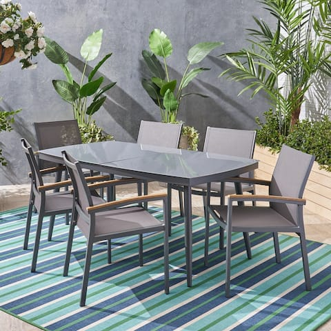 Liverpool Outdoor Aluminum and Wicker 7 Piece Dining Set with Tempered Glass Top by Christopher Knight Home