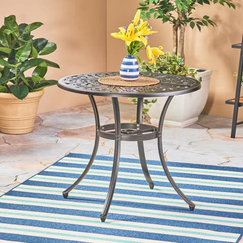 Vigo Outdoor Cast Aluminum Dining Table by Christopher Knight Home