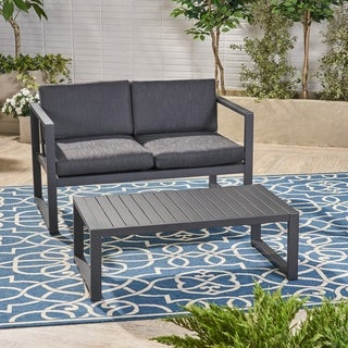 Navan Outdoor Aluminum Loveseat and Coffee Table Set by Christopher Knight Home