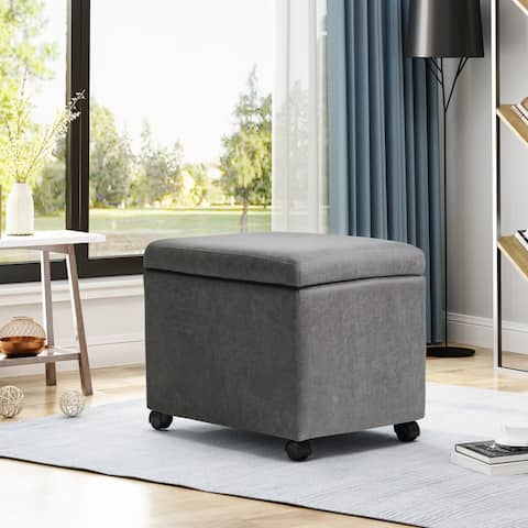 Cade Traditional Microfiber Storage Ottoman for Home or Office by Christopher Knight Home