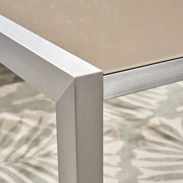 Silver Christopher Knight Home May Outdoor Tempered Glass Dining Table with Aluminum Frame
