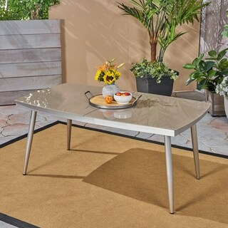 Manchester Outdoor Tempered Glass Dining Table with Aluminum Frame by Christopher Knight Home