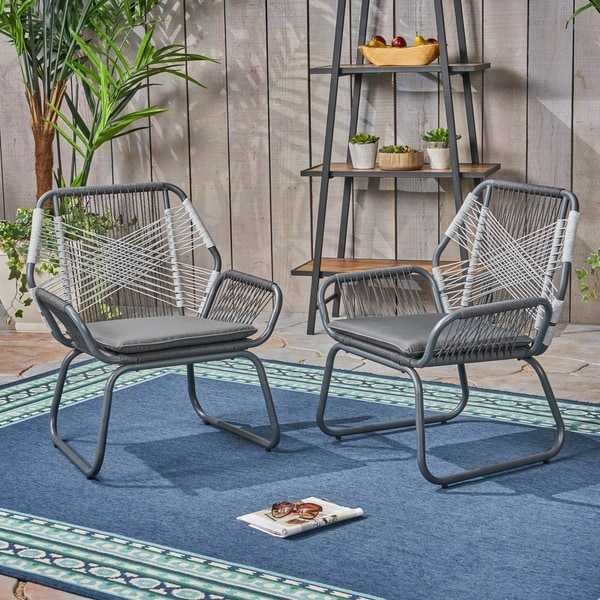 57e44306736d Shop Idaho Outdoor Rope Club Chairs (Set of 2) by Christopher Knight ...