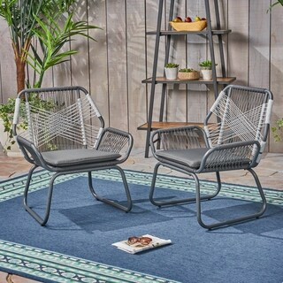 Idaho Outdoor Rope and Steel Club Chairs (Set of 2) by Christopher Knight Home