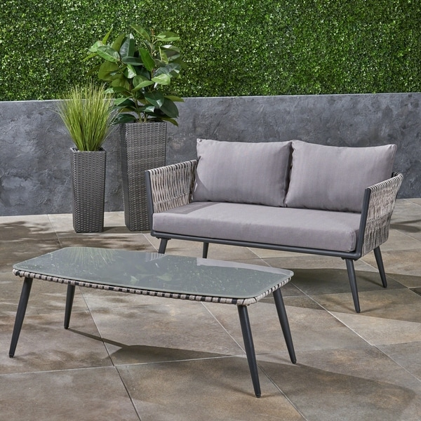 Shop Oceanus Outdoor Wicker Loveseat And Coffee Table With