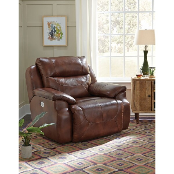 Southern Motion Five Star Brown Leather Power Headrest 1/2 Recliner Chair