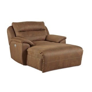 Southern Motion Five Star Brown Fabric Half Chaise Power Headrest Chair