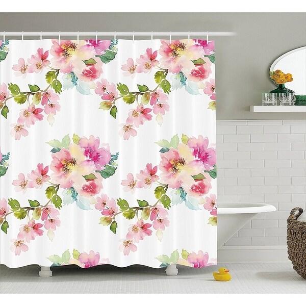 Floral Shower Curtain Fabric Bathroom Decor Set With Hooks 70