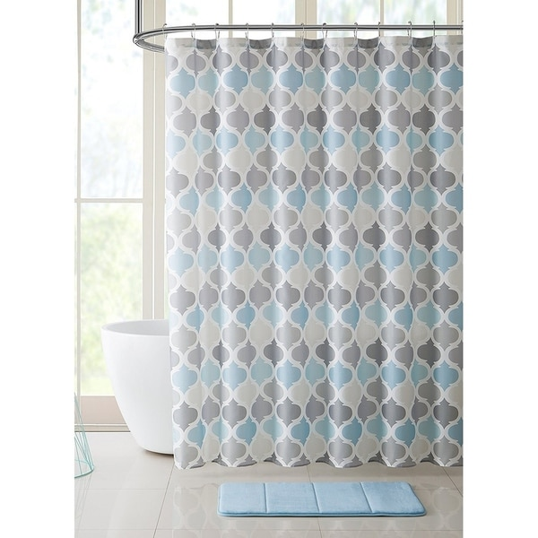 Shop Bathroom Fabric Shower Curtain For Men Women Muted Tones Of Blue Grey