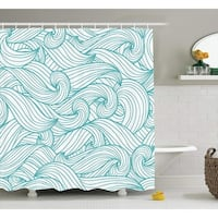 Waves and Cloud Polyester Fabric Bathroom Shower Curtain Set