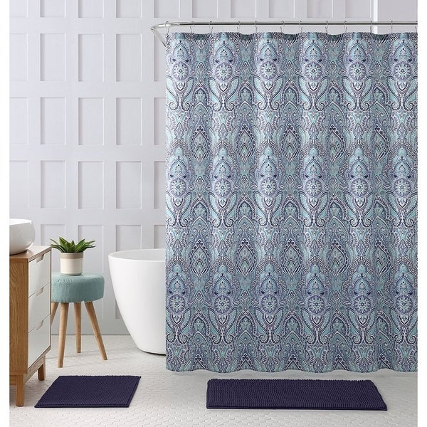 Shop Blue Teal Purple Cloth Fabric Shower Curtain 72 X Inch