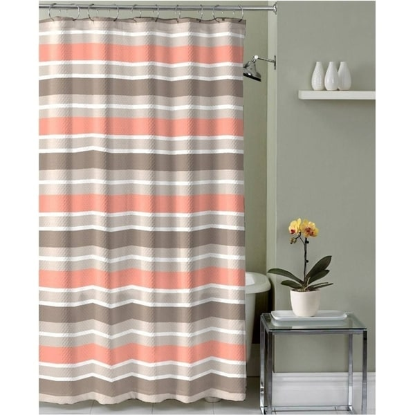 Shop Brown Taupe Coral White Fabric Shower Curtain Striped Design