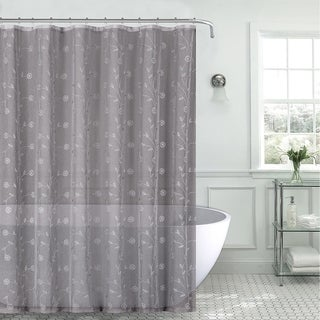 Shop Sheer Fabric Shower Curtain Gray Silver Embroidered