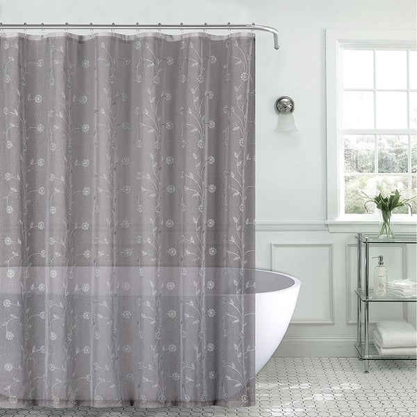 Sheer Fabric Shower Curtain Gray Silver Embroidered Flowers70 X 72