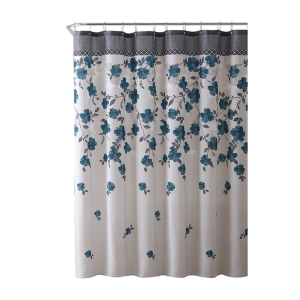 shop blue grey white canvas fabric shower curtain 72 x 72 on sale free shipping today. Black Bedroom Furniture Sets. Home Design Ideas