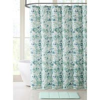 Fabric Shower Curtain Leaf Pattern on Faux Linen