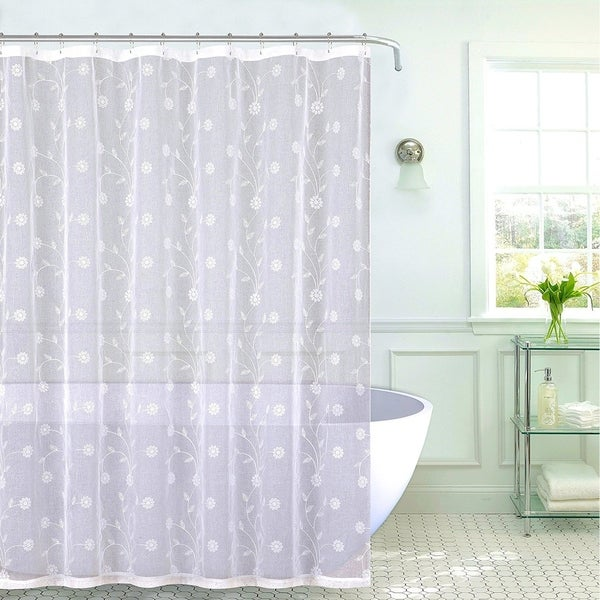 Shop Emily Decorative Sheer Fabric Shower Curtain White Silver Embroidered Flowers70 X 72