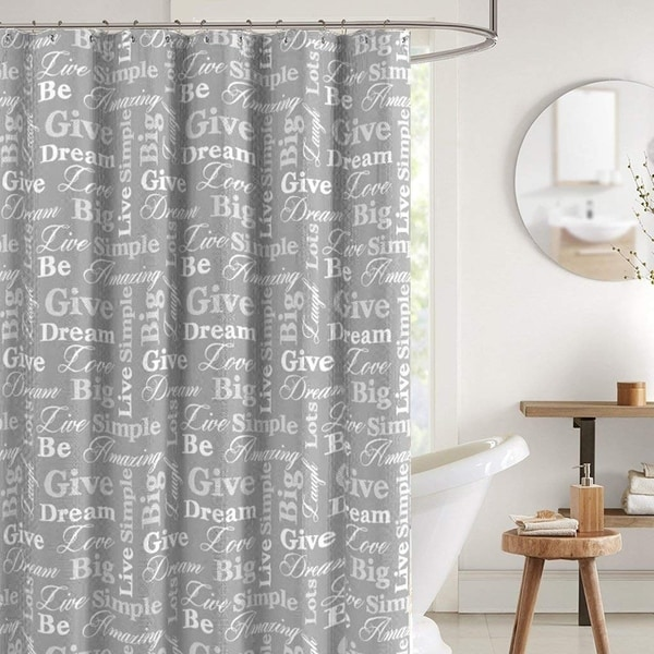 Shop Canvas Fabric Shower Curtain Grey And White 70 X 72 On