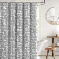 "Canvas Fabric Shower Curtain Grey and White, 70"" x 72"""