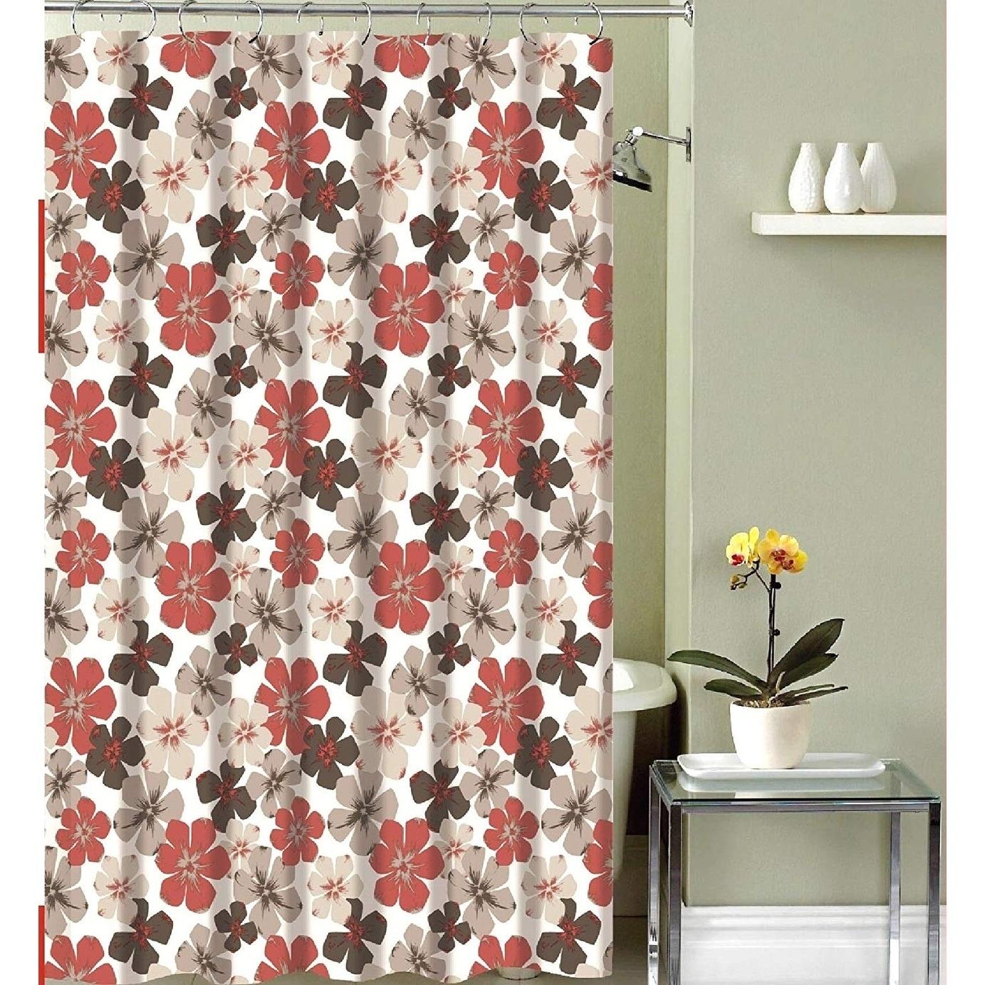 Fabric Shower Curtain Primitive Burgundy Beige Design 70 X 72