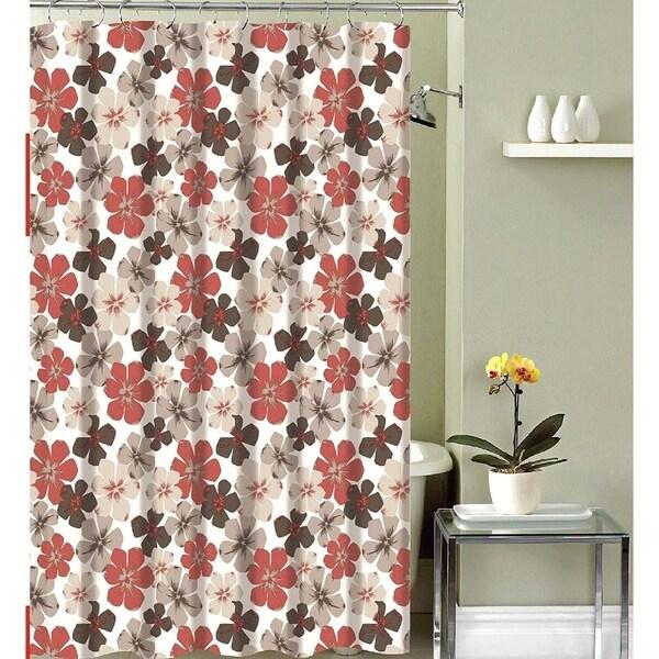 Shop Fabric Shower Curtain Primitive Burgundy Beige Design 70 X 72