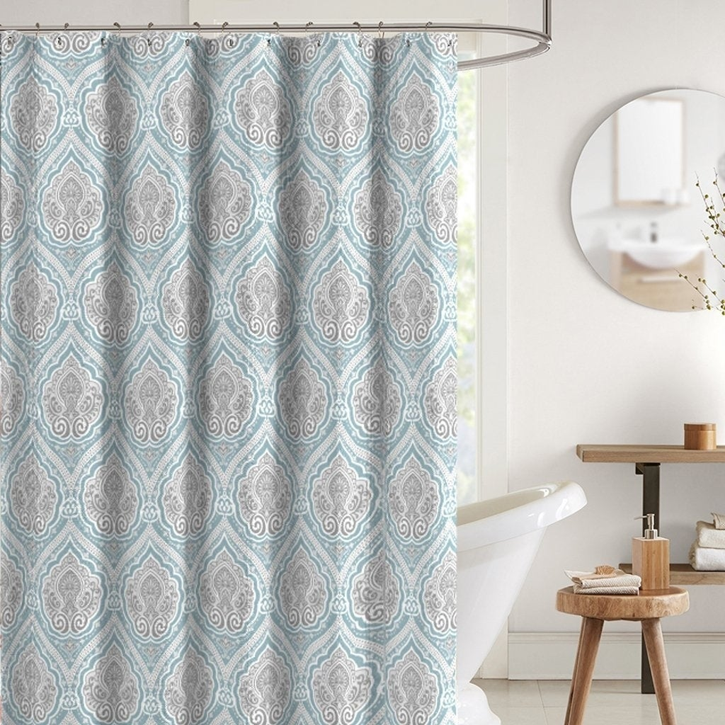Bright Aqua Grey White Fabric Shower Curtain 70 X 72 Inches