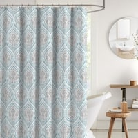 "Bright Aqua Grey White Fabric Shower Curtain 70"" x 72"" inches"