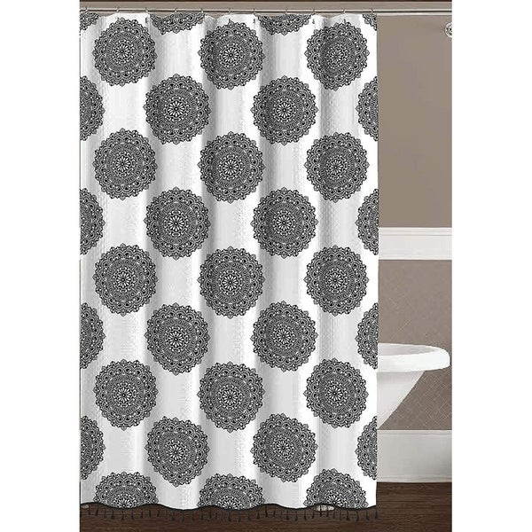 Shop Black White Fabric Shower Curtain Fun And Elegant With Fringe