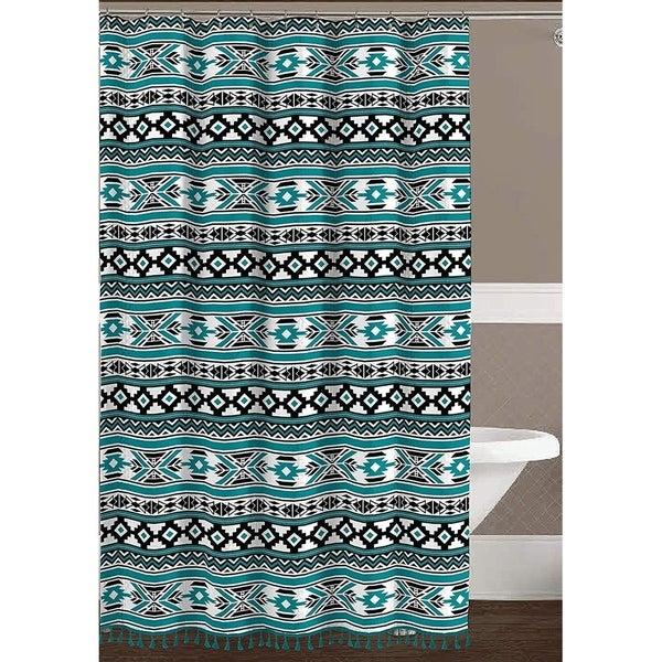 Shop Geometric Fabric Shower Curtain Teal Black White Tribal Design