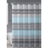 Aqua Gray White Fabric Shower Curtain Geometric Patterned Striped Design