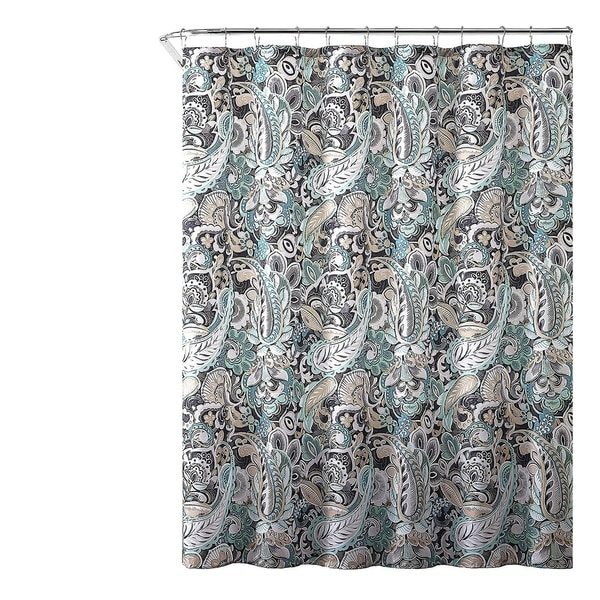 Gray Mint Green Beige Fabric Shower Curtain 72