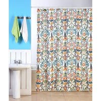 """Fabric Shower Curtain, 70""""x70"""", Colorful Floral Geometric Design"""