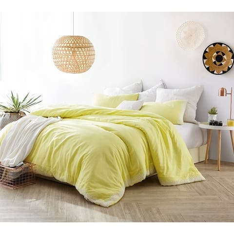 Endless Fields Embroidered Comforter - Limelight Yellow