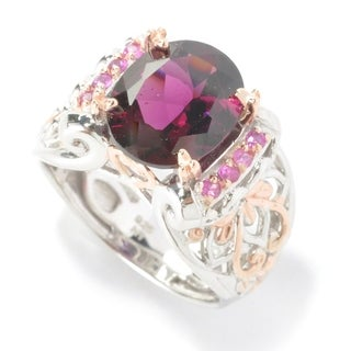 Michael Valitutti Palladium Silver Oval Rhodolite & Pink Sapphire Ring (2 options available)