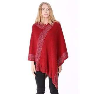 BYOS Womens Fashion Poncho with Fringe