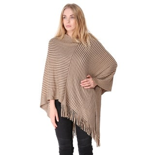 BYOS Womens Fashion Stripe Printed Poncho with Fringe