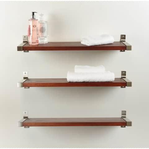 Industrial Modern 3-piece Wood Wall Shelf Set