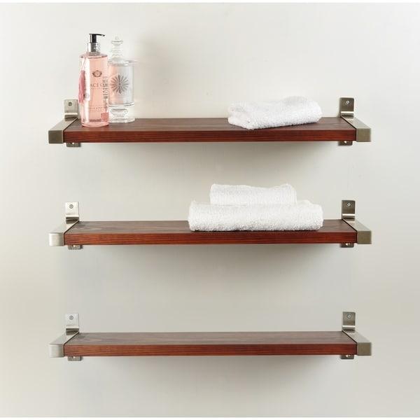 3 Piece Industrial Modern Wood Wall Shelf Set
