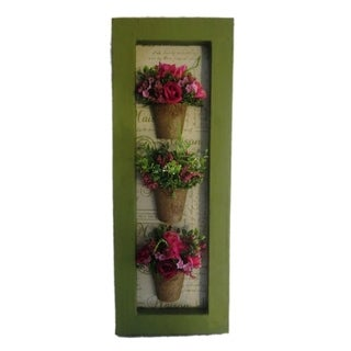 3 Ceramic Pots with Roses Wall Decor - N/A