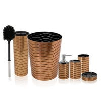SereneLife 6 Piece Bathroom & Sink Accessory Set - Bronze Finish Modern Vanity Accessories Kit - Red