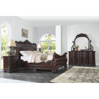 Saillans Cherry Finish Solid Wood Construction Bedroom Set with Bed, Dresser and Mirror, Nightstand