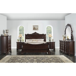 Saillans Cherry Finish Solid Wood Construction Bedroom Set with Bed, Dresser and Mirror, 2 Nightstands, Chest