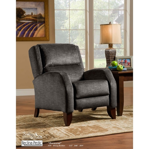 Southern Motion Townsend Hi-Leg Grey Microfiber Upholstered Pushback Recliner